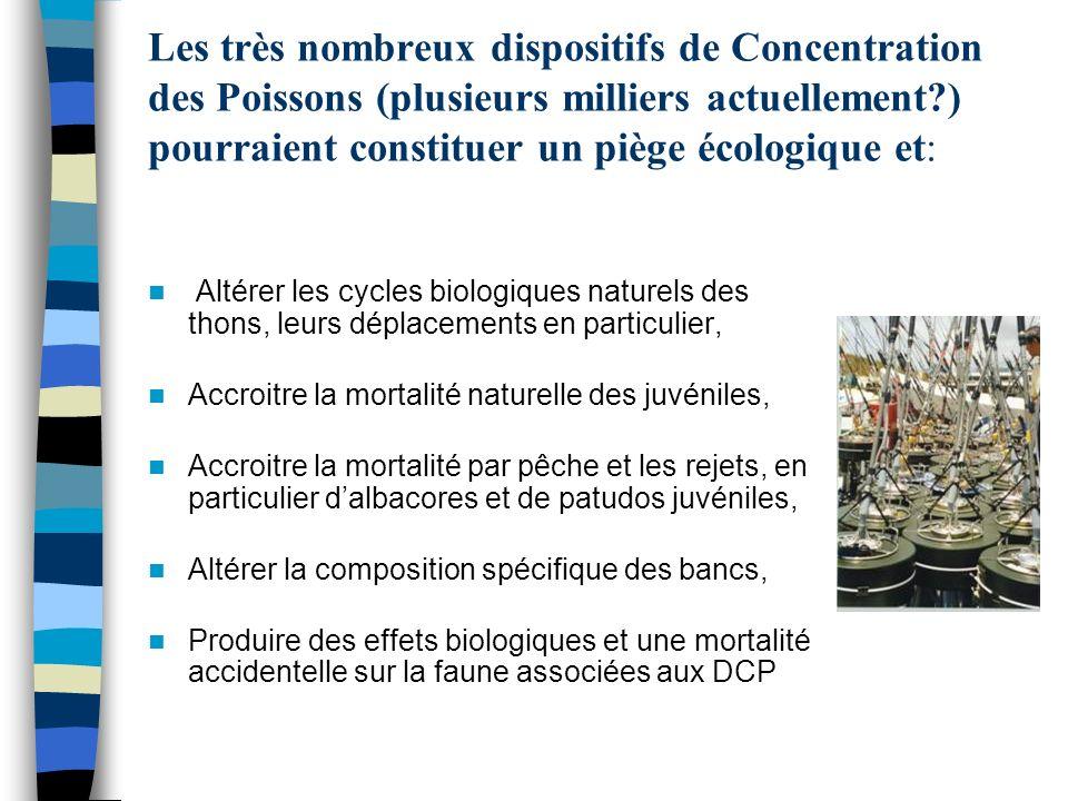 Les très nombreux dispositifs de Concentration des Poissons (plusieurs milliers actuellement ) pourraient constituer un piège écologique et: