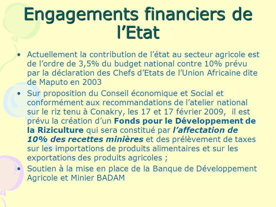 Engagements financiers de l'Etat