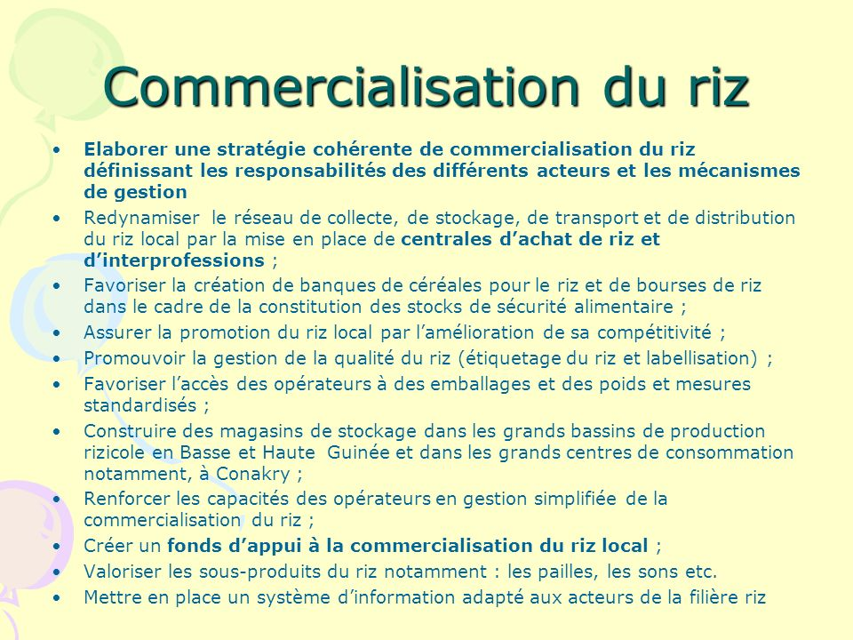 Commercialisation du riz