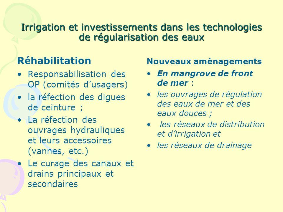 Irrigation et investissements dans les technologies de régularisation des eaux