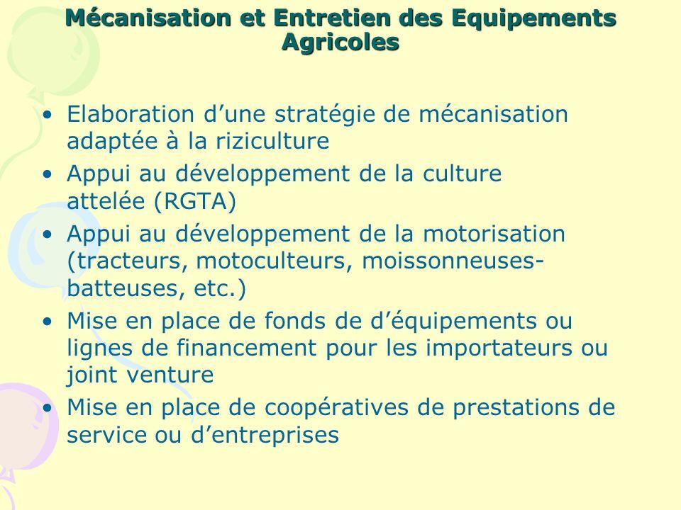 Mécanisation et Entretien des Equipements Agricoles