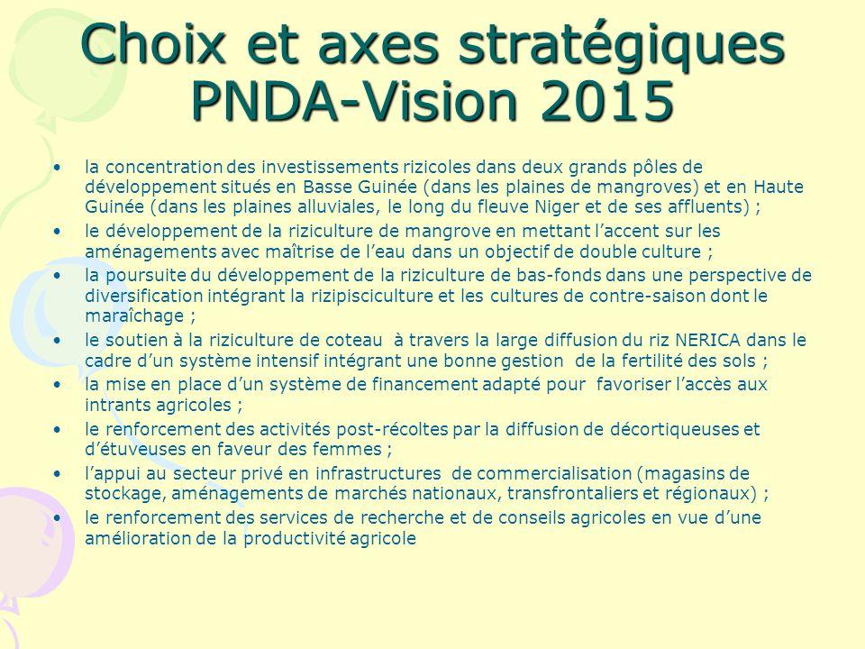 Choix et axes stratégiques PNDA-Vision 2015