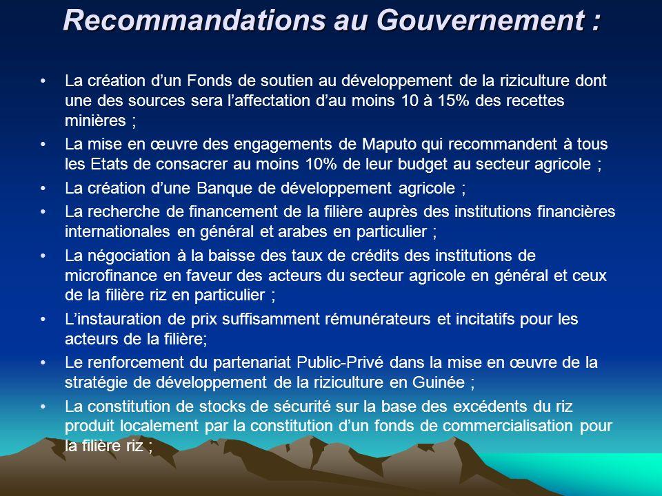Recommandations au Gouvernement :