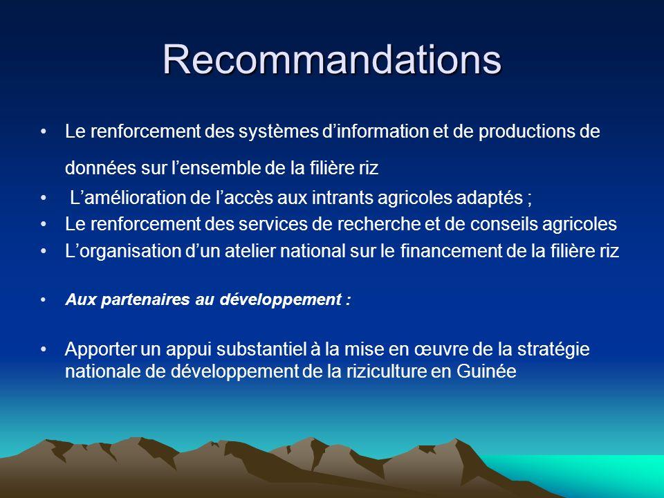 RecommandationsLe renforcement des systèmes d'information et de productions de données sur l'ensemble de la filière riz