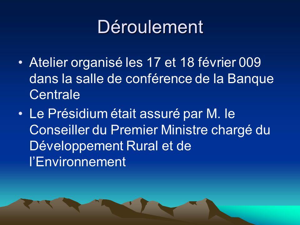 DéroulementAtelier organisé les 17 et 18 février 009 dans la salle de conférence de la Banque Centrale.