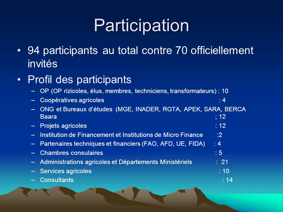 Participation 94 participants au total contre 70 officiellement invités. Profil des participants.