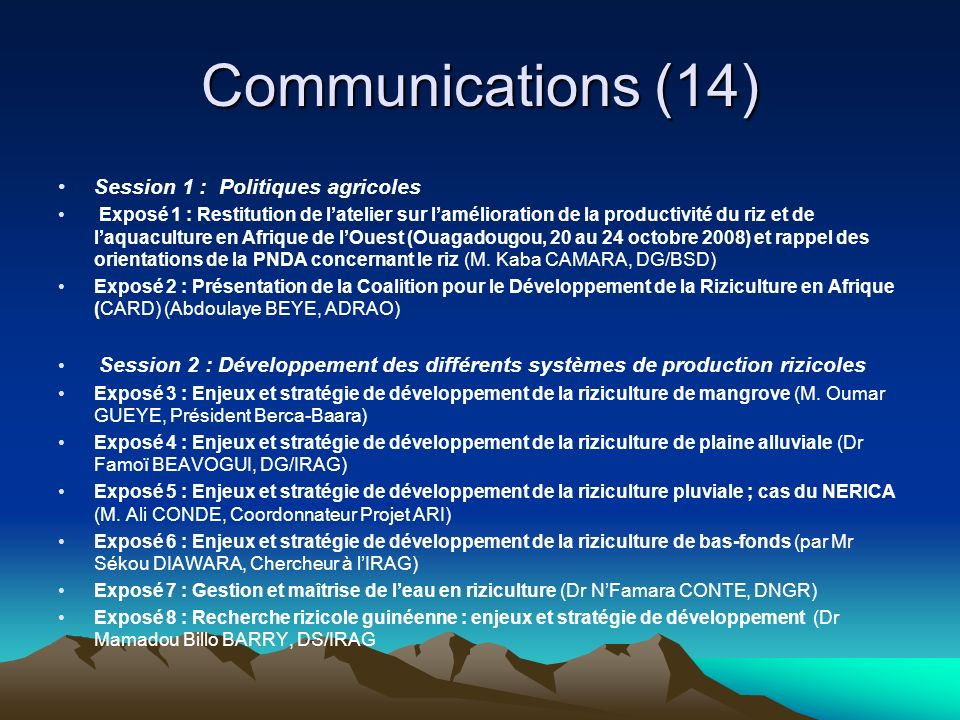 Communications (14) Session 1 : Politiques agricoles
