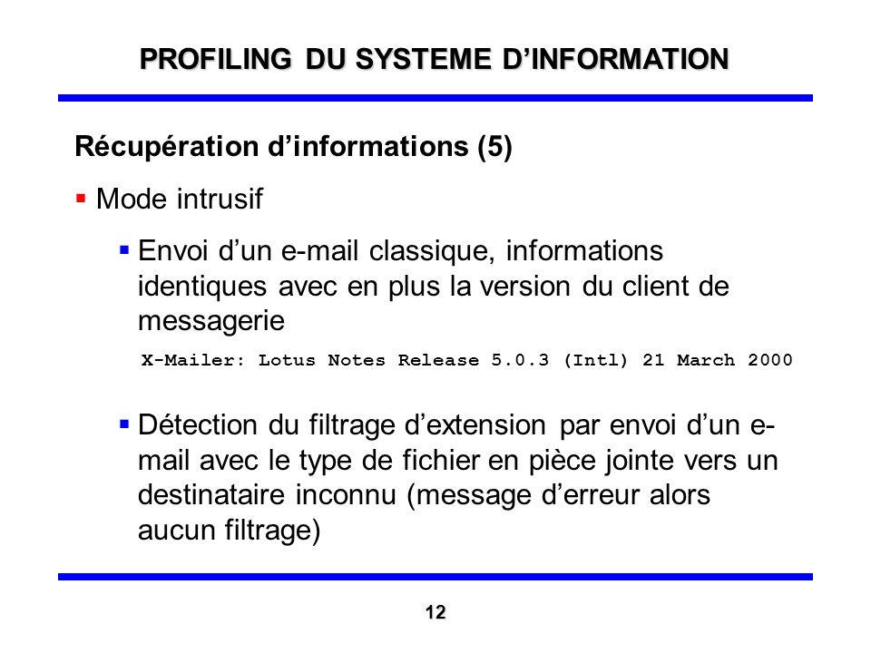 PROFILING DU SYSTEME D'INFORMATION
