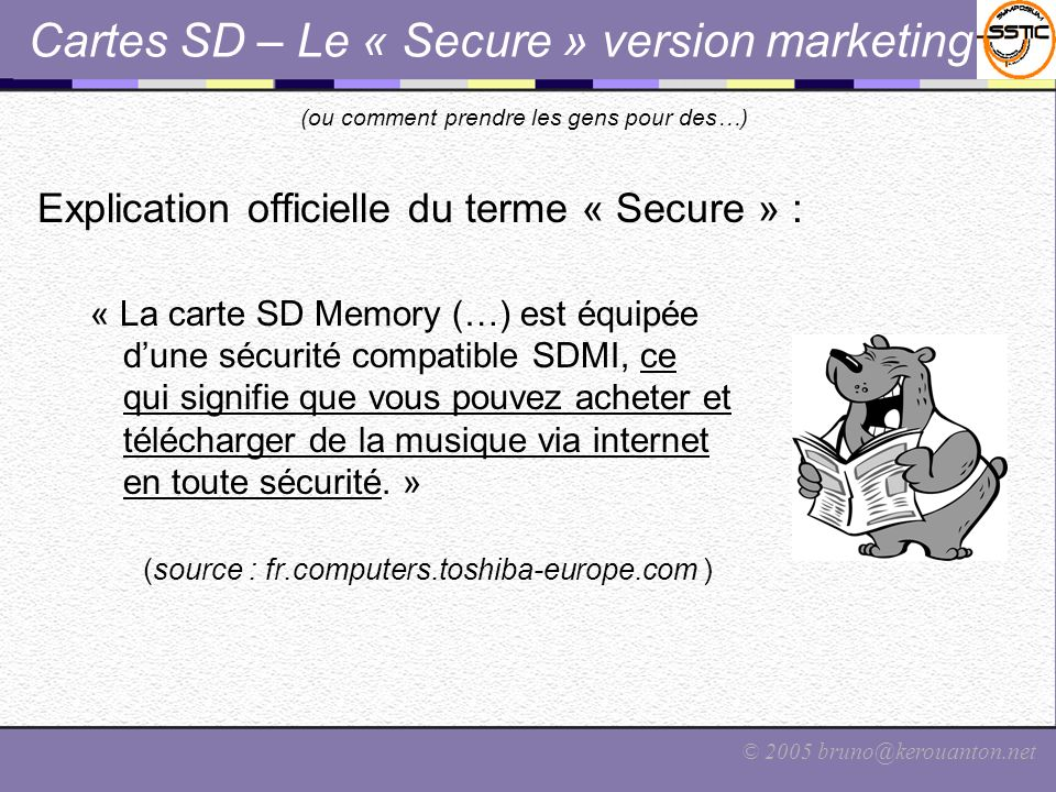Cartes SD – Le « Secure » version marketing