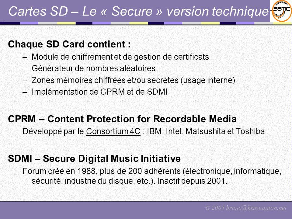 Cartes SD – Le « Secure » version technique