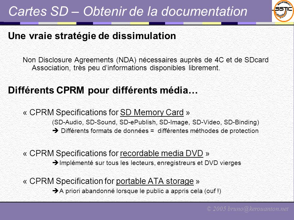 Cartes SD – Obtenir de la documentation