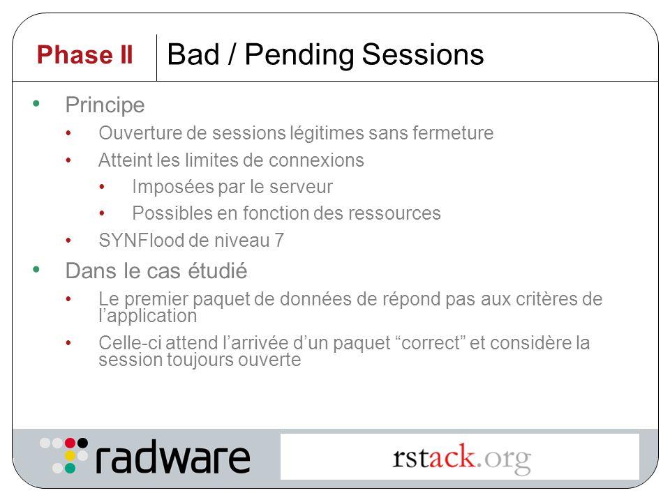 Bad / Pending Sessions Phase II Principe Dans le cas étudié