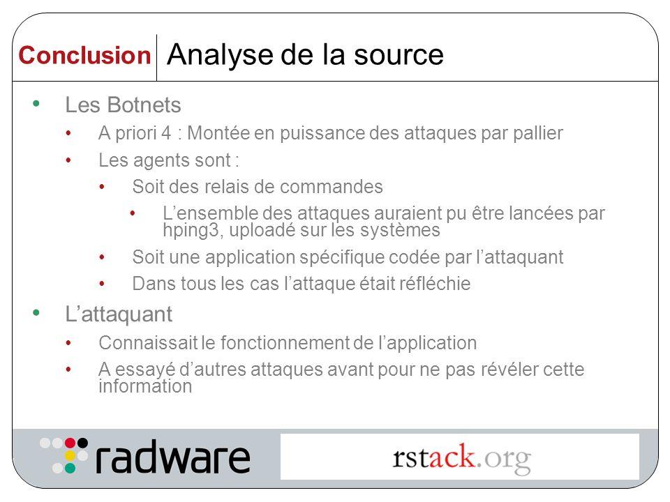 Analyse de la source Conclusion Les Botnets L'attaquant