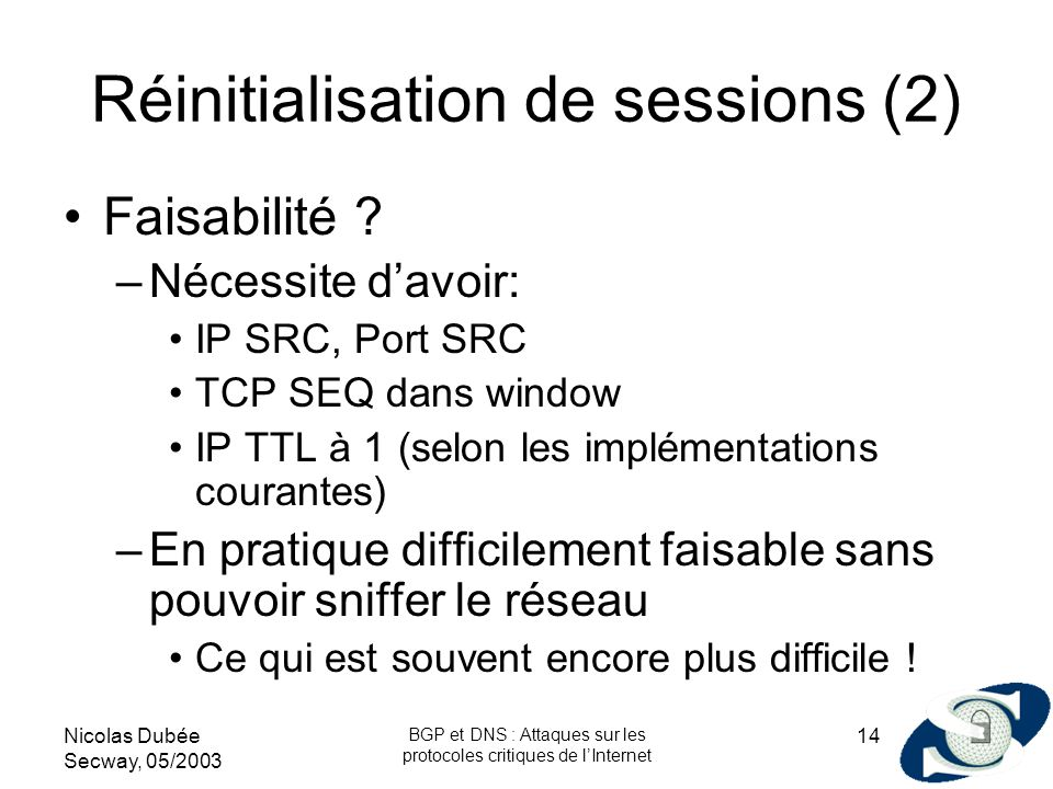 Réinitialisation de sessions (2)