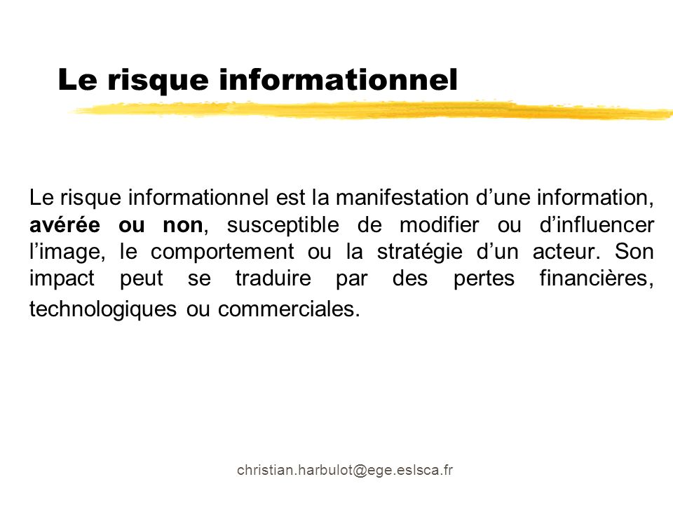Le risque informationnel