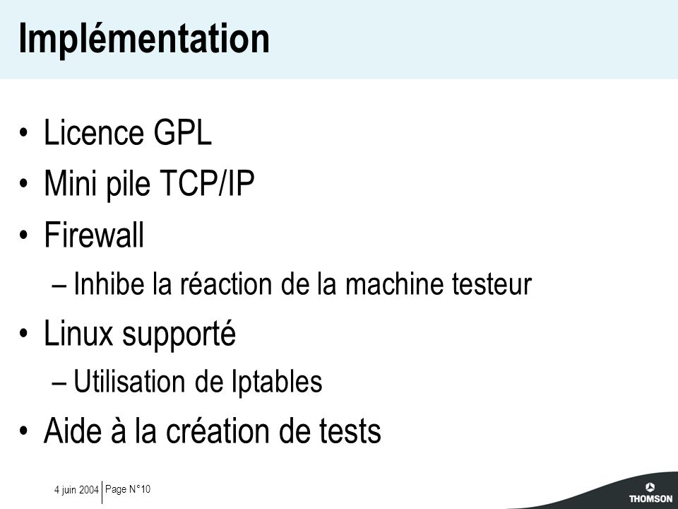 Implémentation Licence GPL Mini pile TCP/IP Firewall Linux supporté
