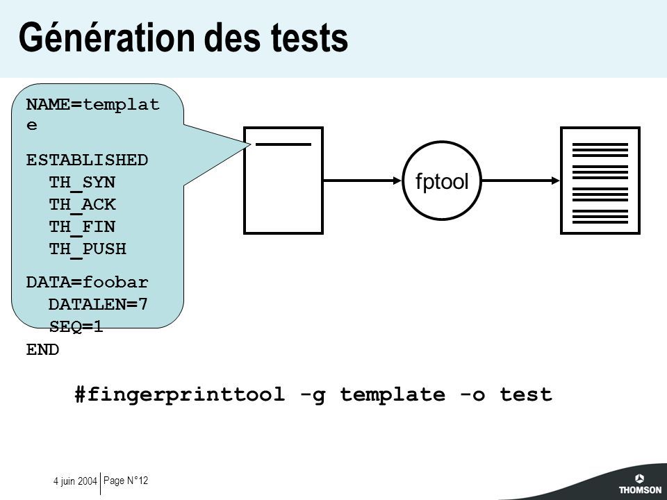 Génération des tests fptool #fingerprinttool -g template -o test
