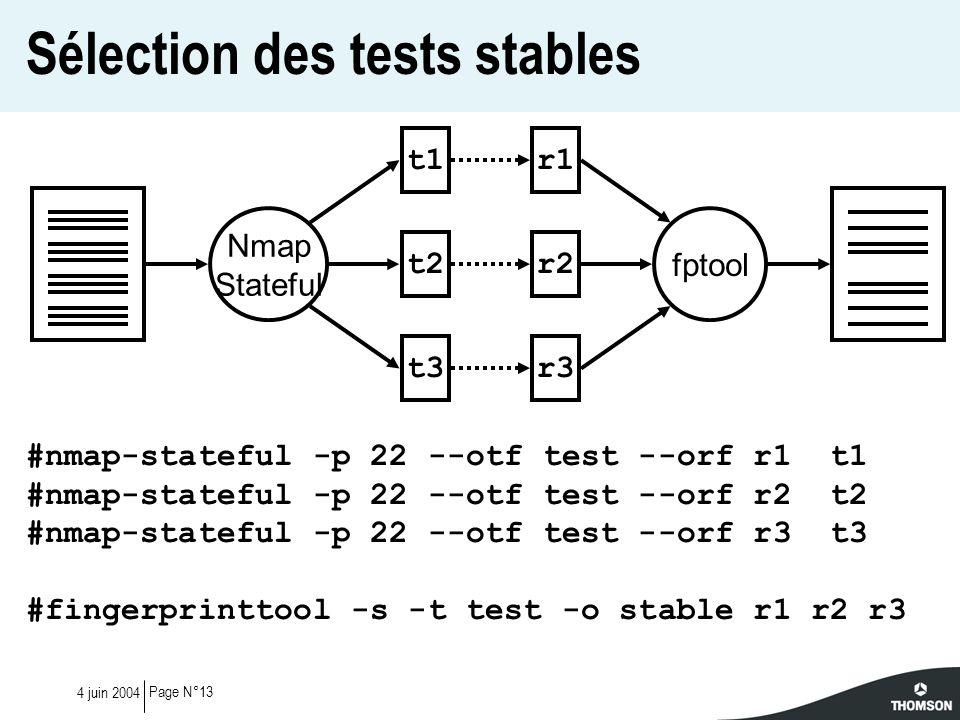 Sélection des tests stables
