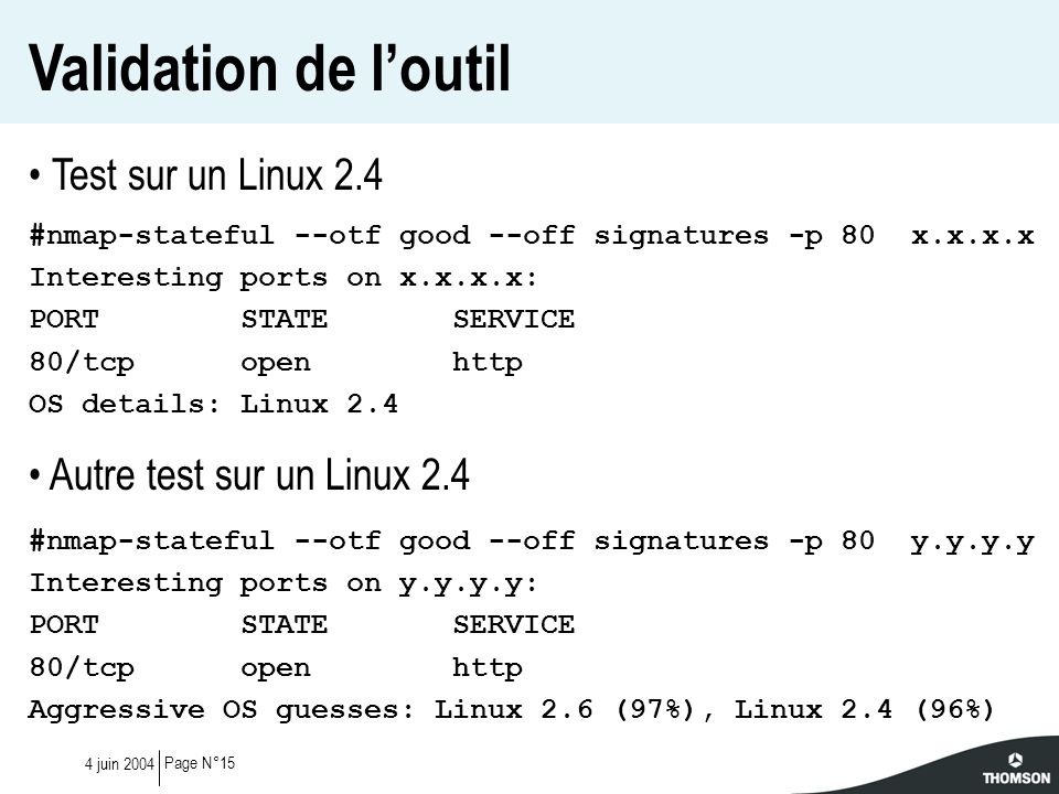 Validation de l'outil Test sur un Linux 2.4
