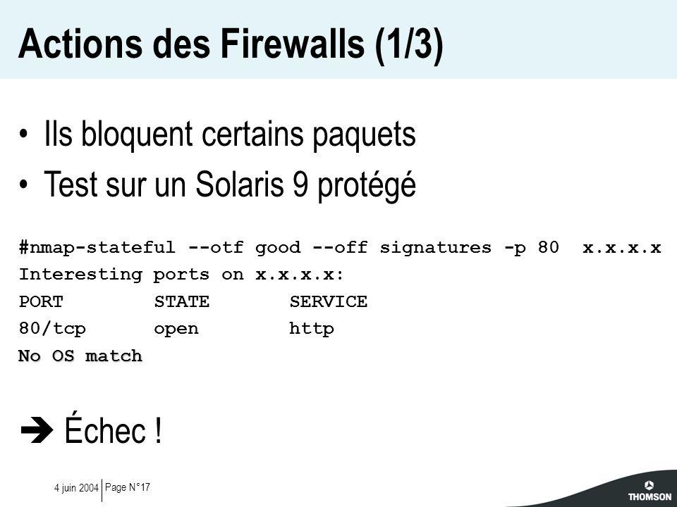 Actions des Firewalls (1/3)