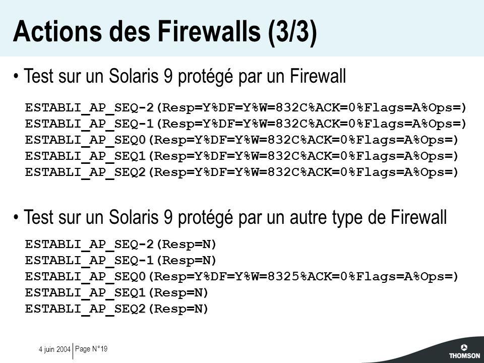 Actions des Firewalls (3/3)
