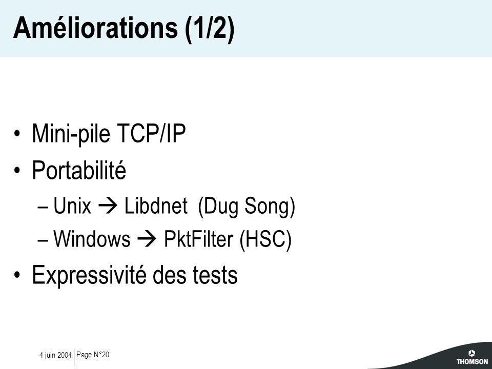 Améliorations (1/2) Mini-pile TCP/IP Portabilité