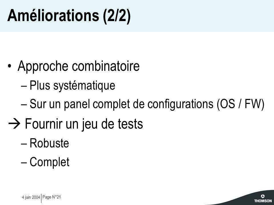 Améliorations (2/2) Approche combinatoire  Fournir un jeu de tests