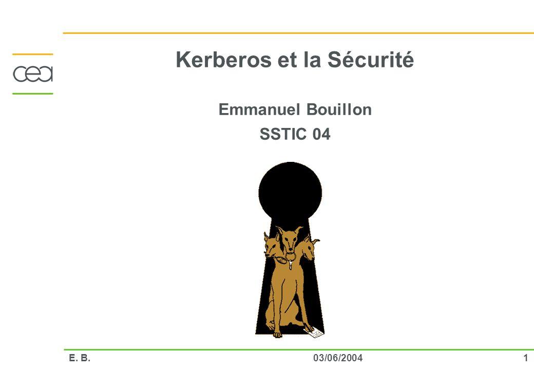 Kerberos et la Sécurité Emmanuel Bouillon SSTIC 04