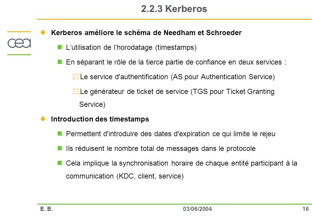 2.2.3 Kerberos Kerberos améliore le schéma de Needham et Schroeder