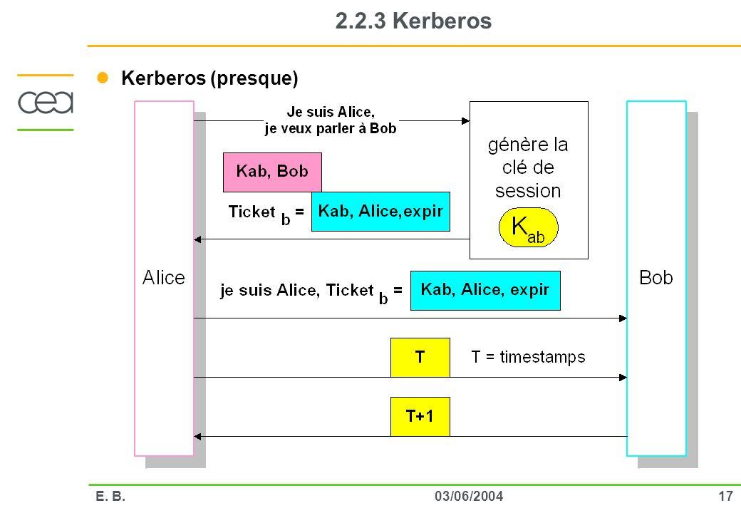 2.2.3 Kerberos Kerberos (presque) E. B. 03/06/2004