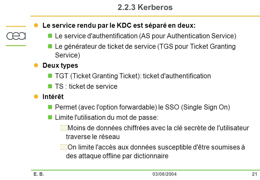 2.2.3 Kerberos Le service rendu par le KDC est séparé en deux: