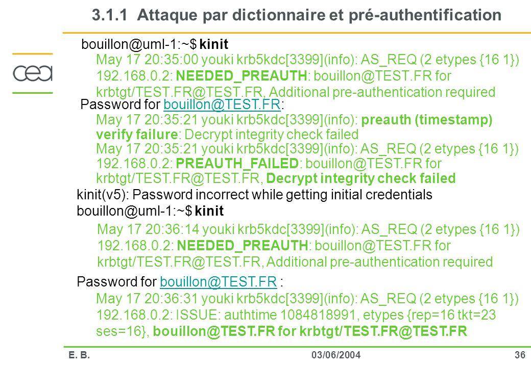 3.1.1 Attaque par dictionnaire et pré-authentification