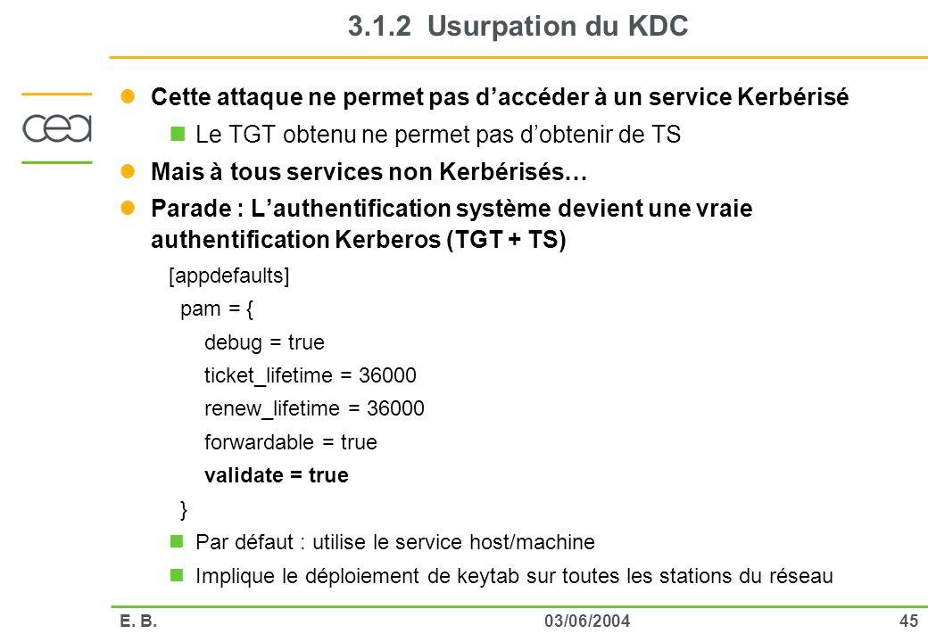 3.1.2 Usurpation du KDC Cette attaque ne permet pas d'accéder à un service Kerbérisé. Le TGT obtenu ne permet pas d'obtenir de TS.