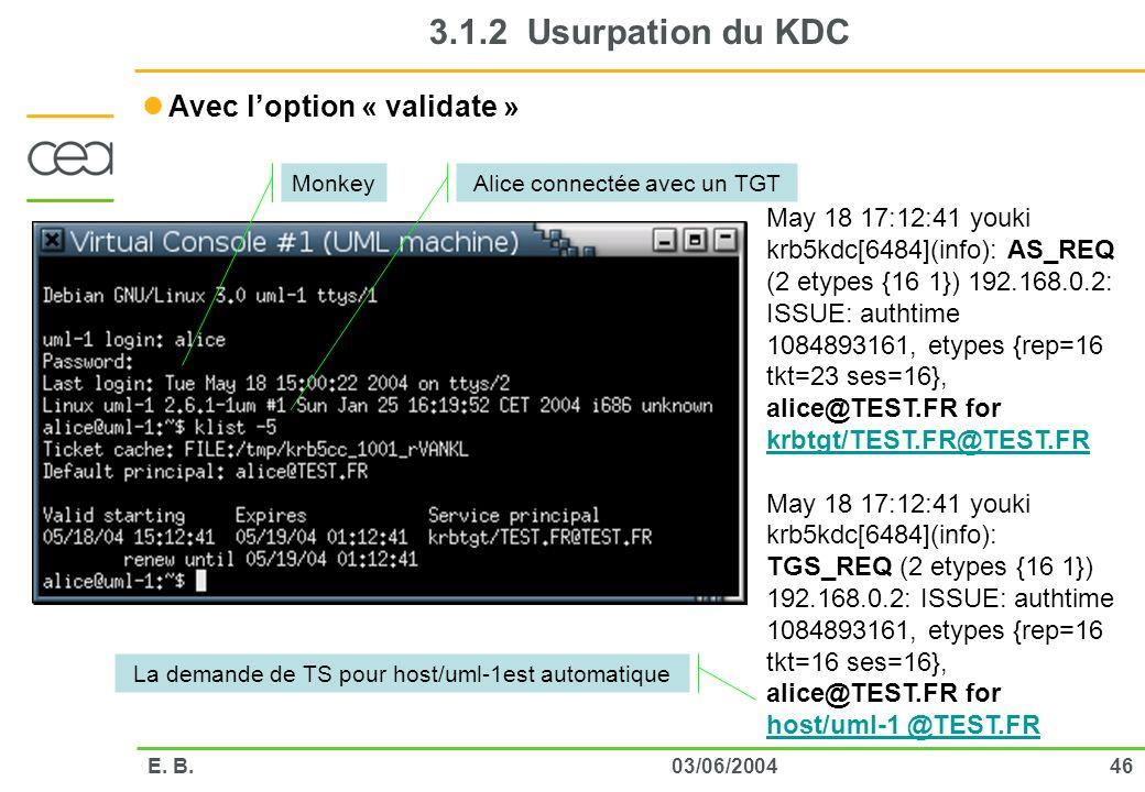 3.1.2 Usurpation du KDC Avec l'option « validate »