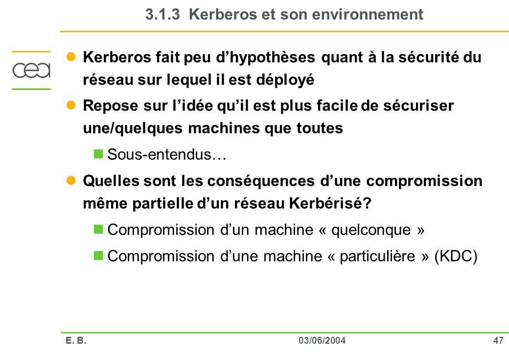 3.1.3 Kerberos et son environnement