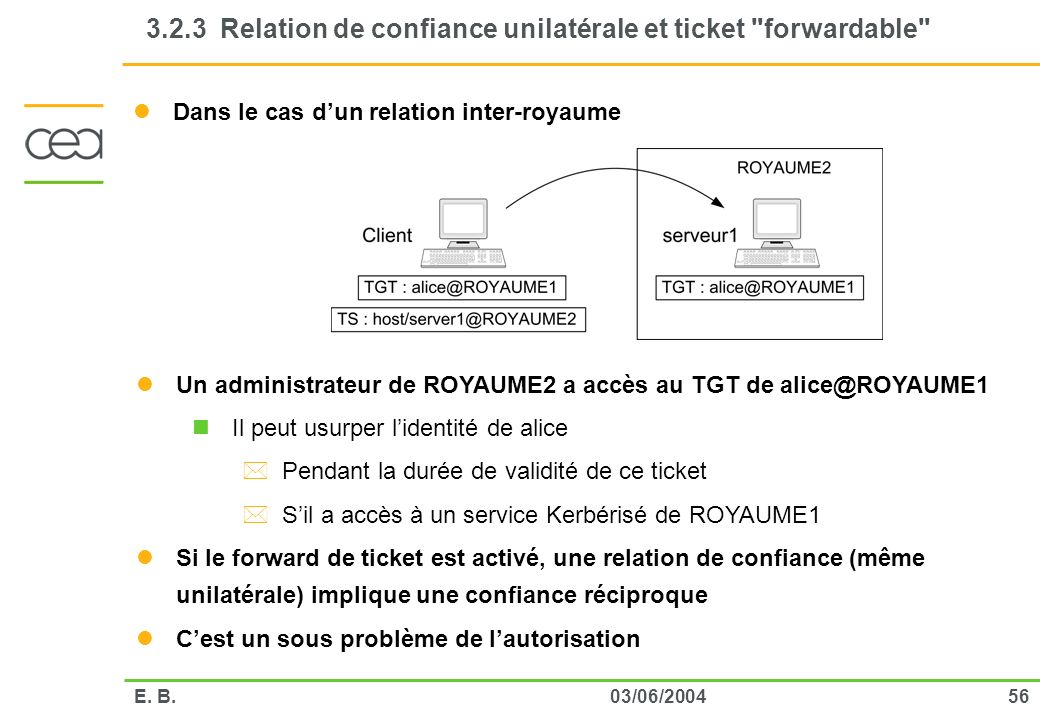 3.2.3 Relation de confiance unilatérale et ticket forwardable