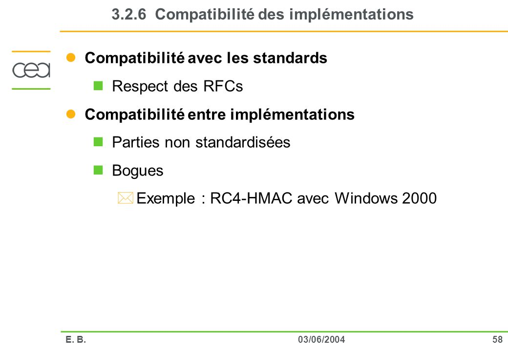 3.2.6 Compatibilité des implémentations