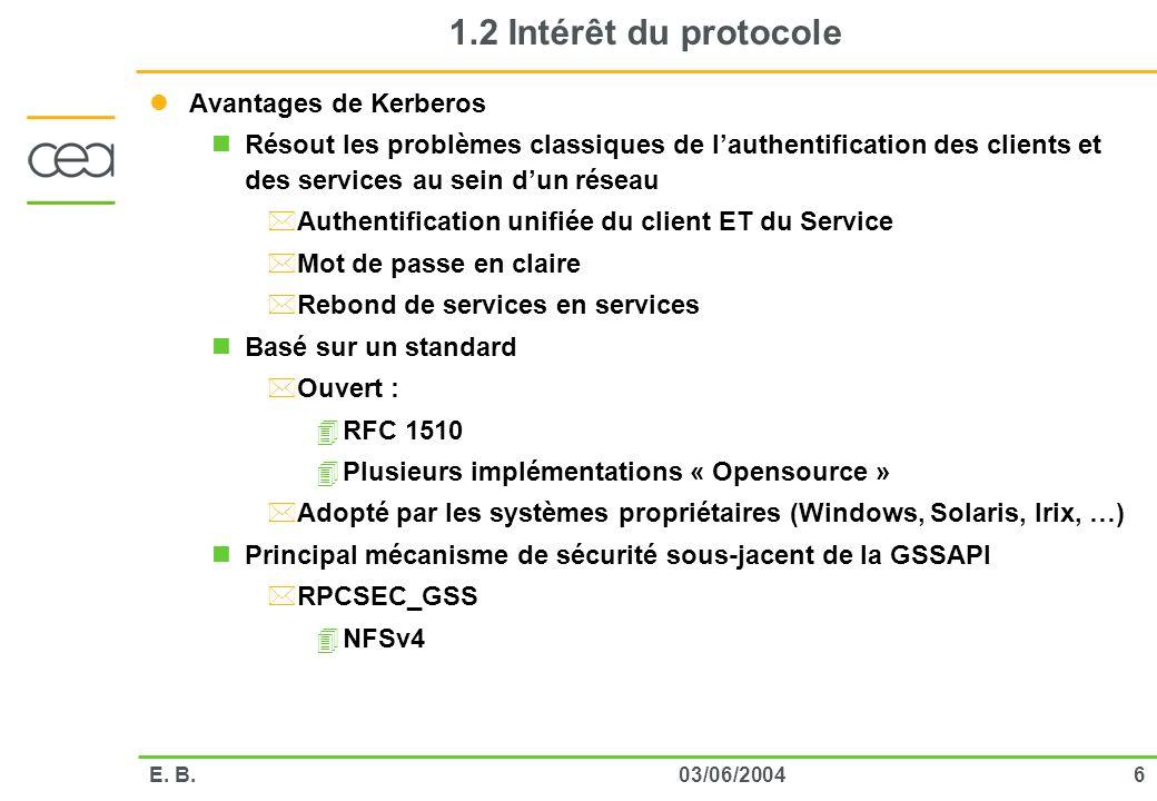 1.2 Intérêt du protocole Avantages de Kerberos