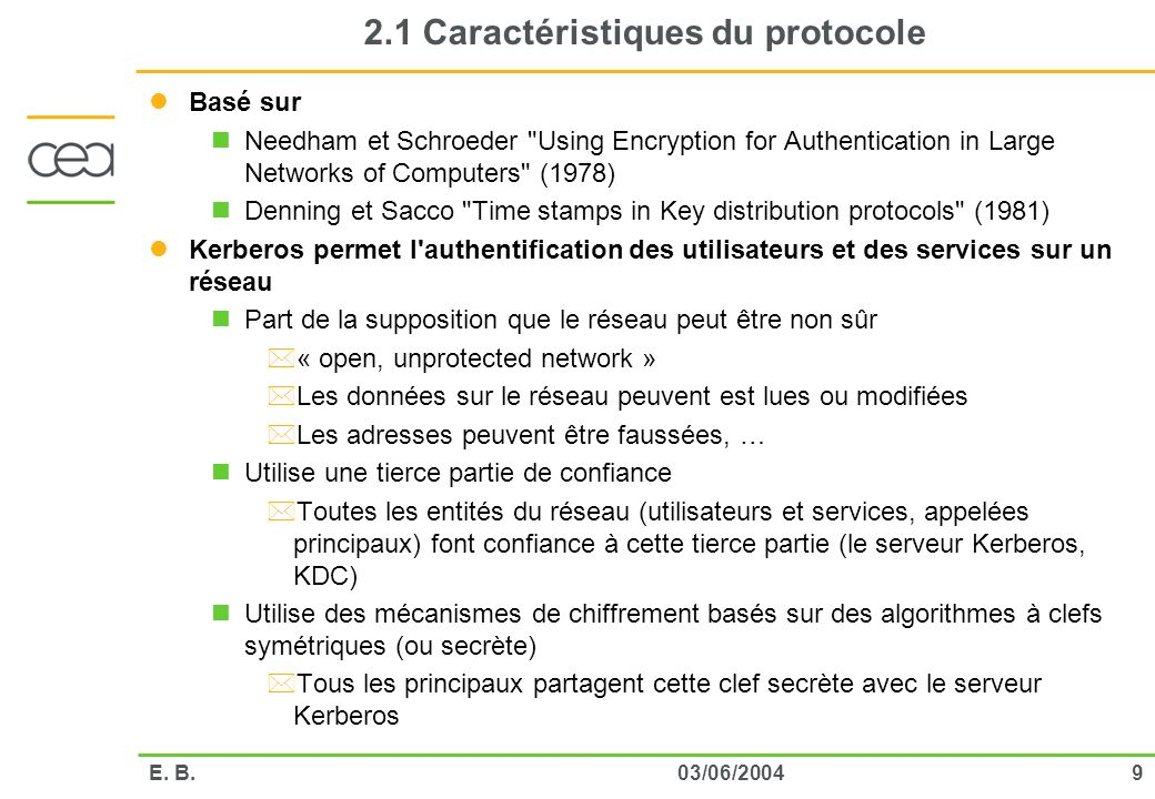 2.1 Caractéristiques du protocole