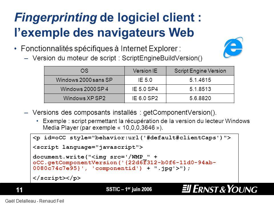 Fingerprinting de logiciel client : l'exemple des navigateurs Web
