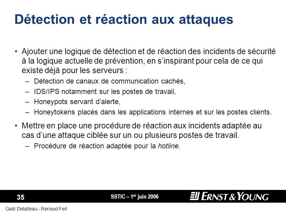 Détection et réaction aux attaques