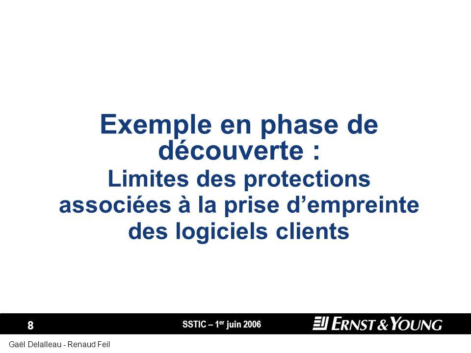 Exemple en phase de découverte : Limites des protections associées à la prise d'empreinte des logiciels clients