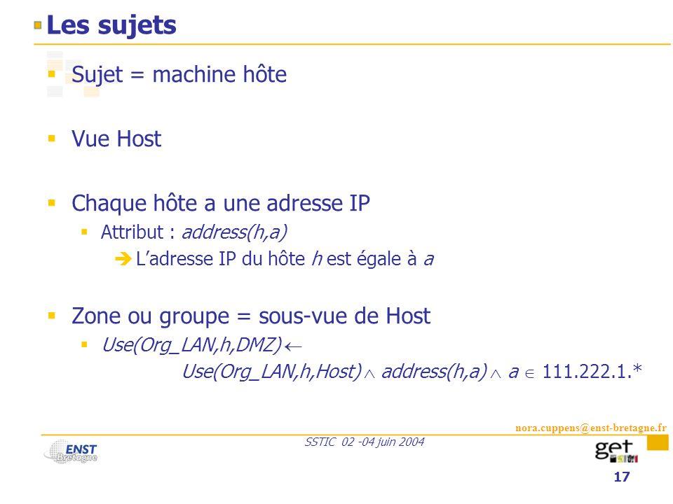 Les sujets Sujet = machine hôte Vue Host Chaque hôte a une adresse IP
