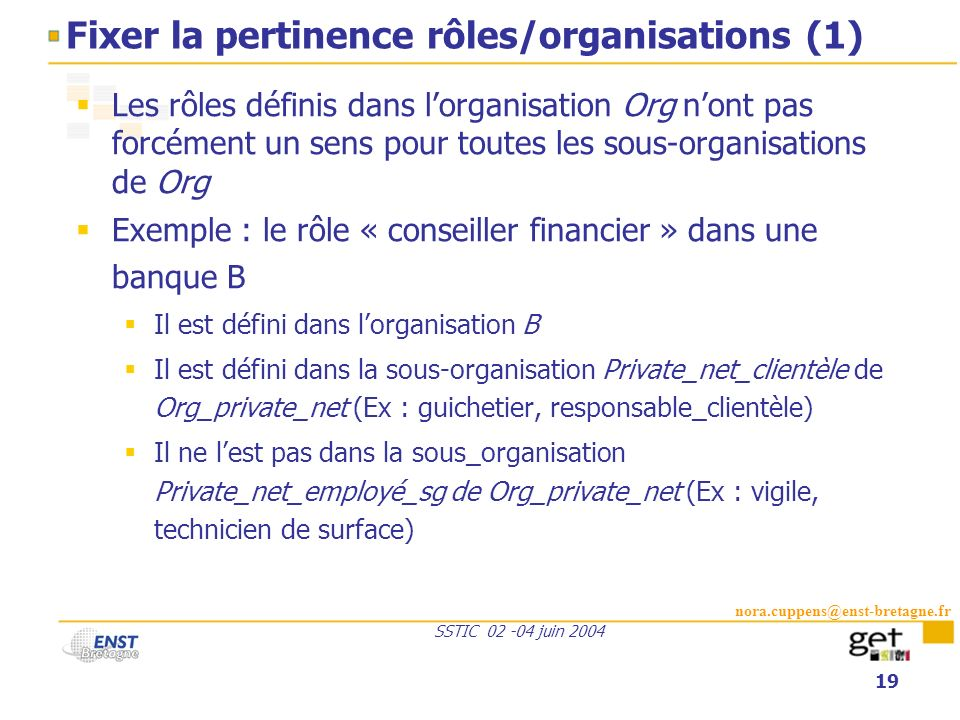 Fixer la pertinence rôles/organisations (1)