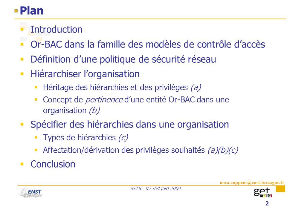 Plan Introduction. Or-BAC dans la famille des modèles de contrôle d'accès. Définition d'une politique de sécurité réseau.