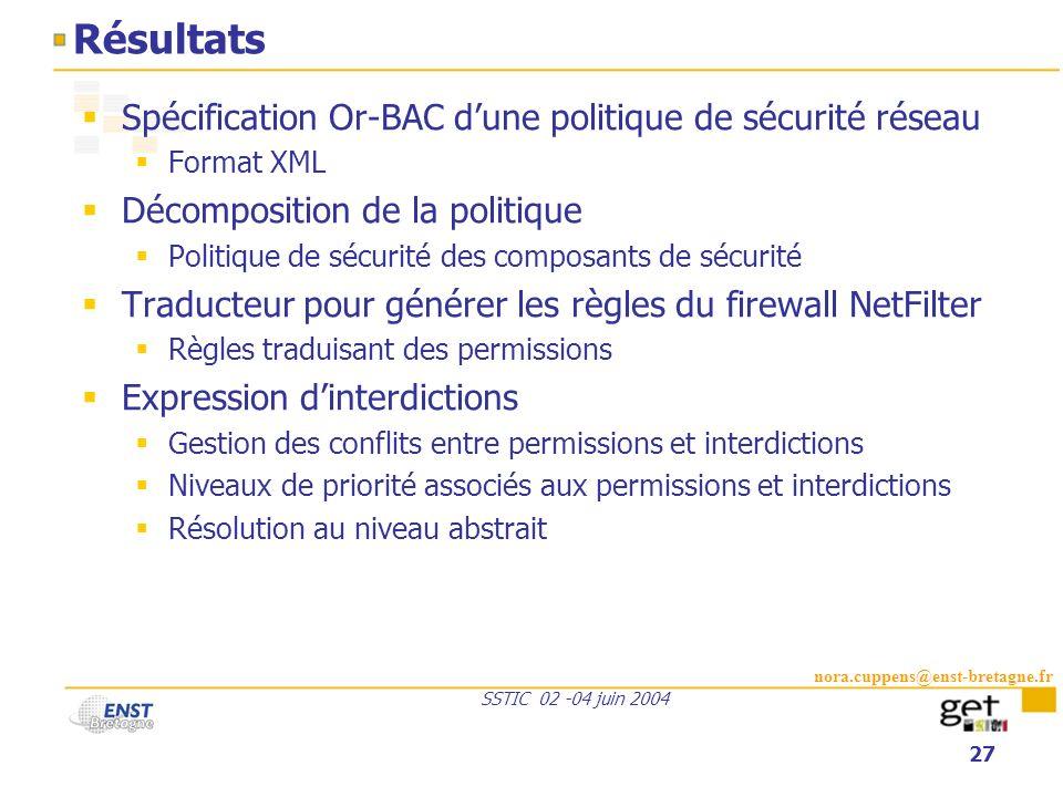 Résultats Spécification Or-BAC d'une politique de sécurité réseau