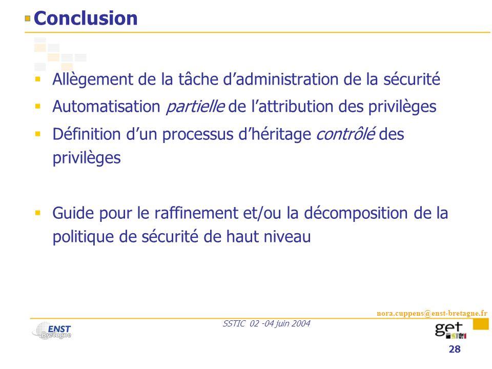 Conclusion Allègement de la tâche d'administration de la sécurité