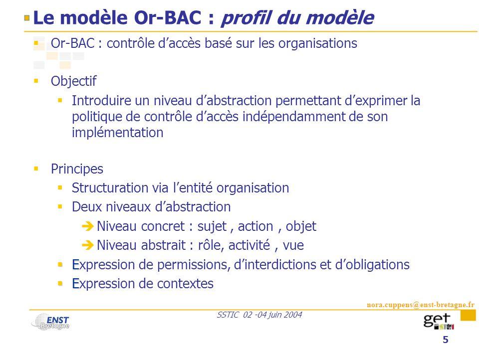 Le modèle Or-BAC : profil du modèle