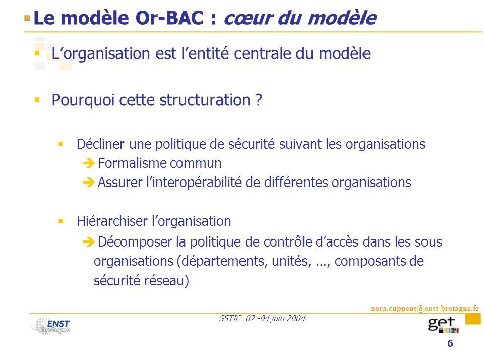 Le modèle Or-BAC : cœur du modèle