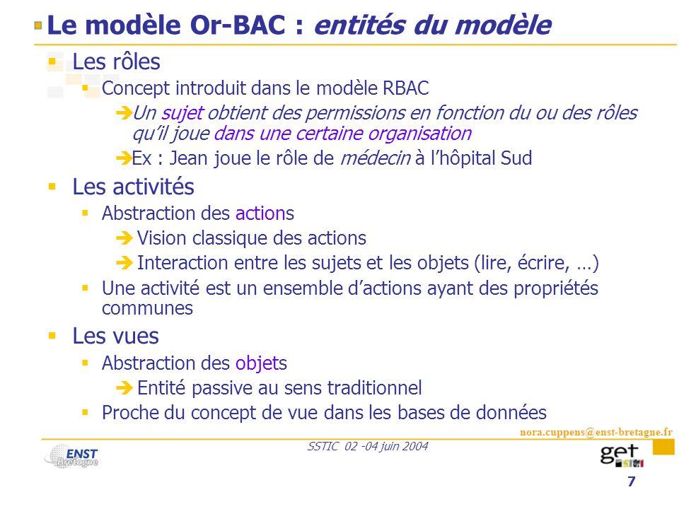 Le modèle Or-BAC : entités du modèle